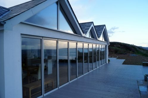 Large bi-folding doors, opening the room to the outside