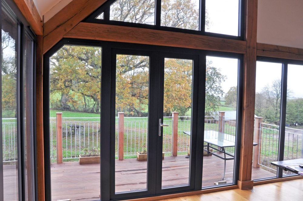Ral 7016 Aluminium Floor To Ceiling Windows French Doors