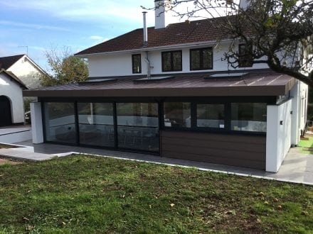 Large sliding doors and flat rooflights