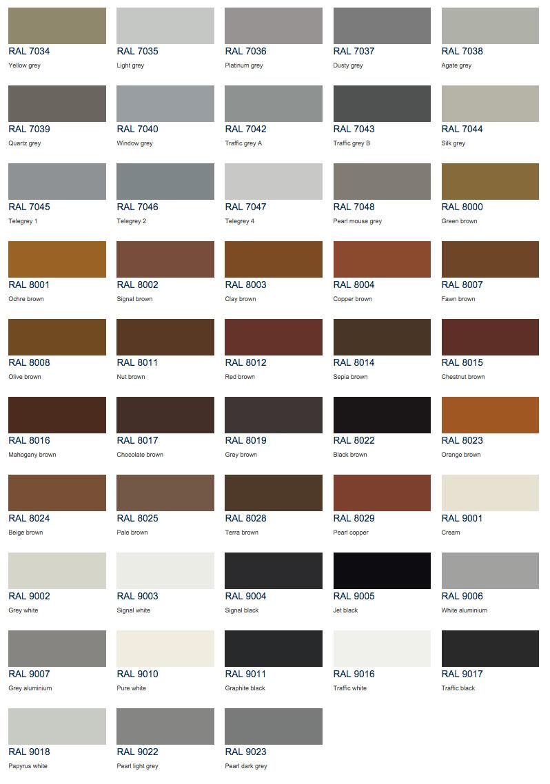 Ral Colour Chart Aspect Windows