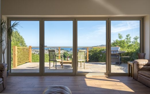 Aluminium bi-folding doors - closed