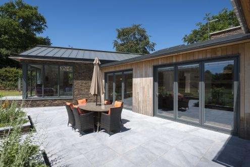 Bi-folding doors in West Hill new build - Aspect Windows