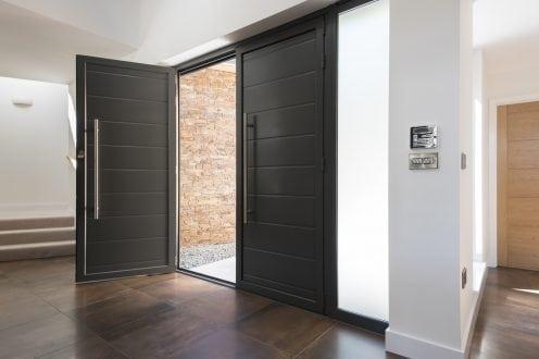 Double aluminium front door
