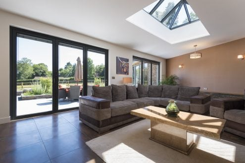 Aluminium bi-folding doors and lantern rooflight