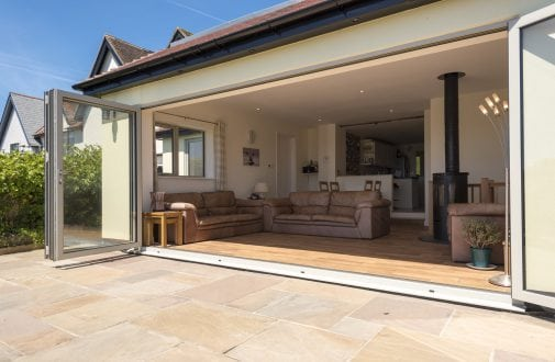 Bi-folding doors open - Devon