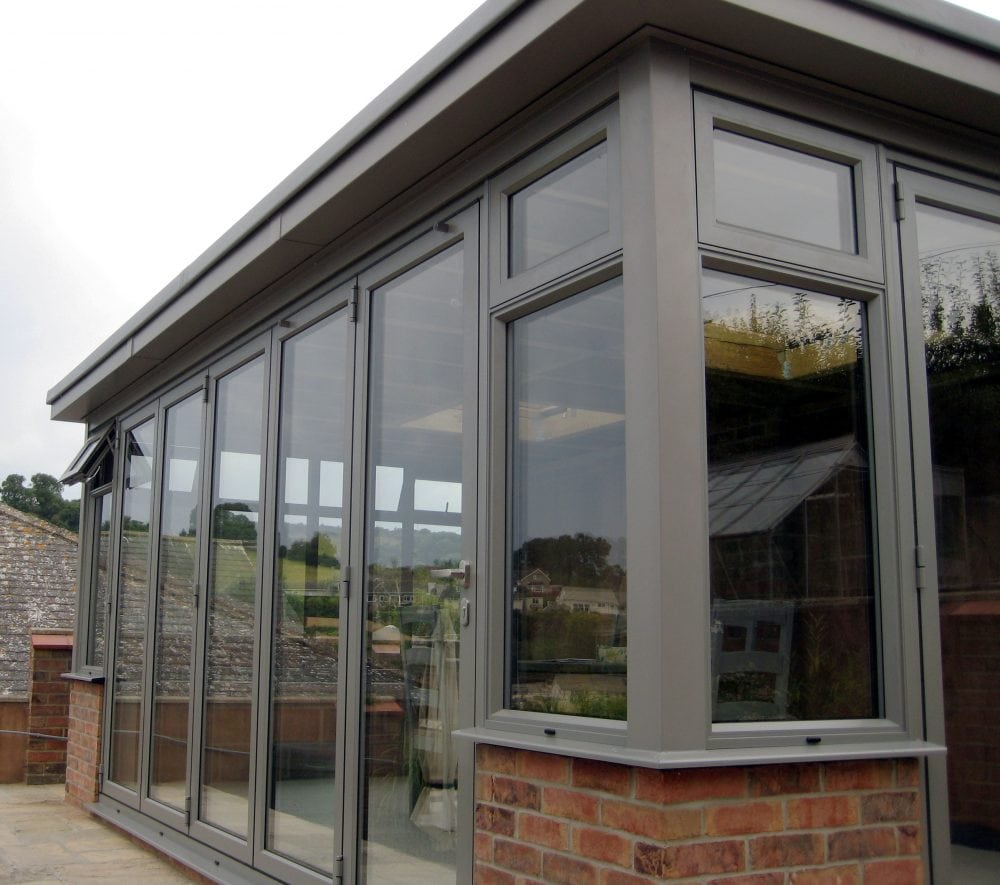 Grey Aluminium Garden Room With Bi Folding Doors French