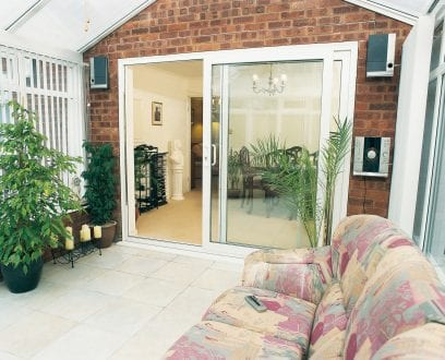 White PVCu patio doors