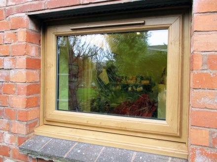 Coloured PVCu window - woodgrain