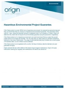 Origin- Hazardous Environmental project Guarantee