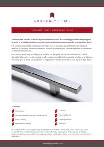RK Door Systems - Stainless Steel Cleaning and Care