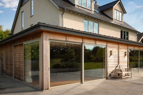 Large glazed aluminium sliding doors