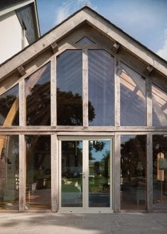 Aluminium French Doors within existing timber building