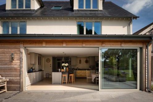 Large glazed sliding doors