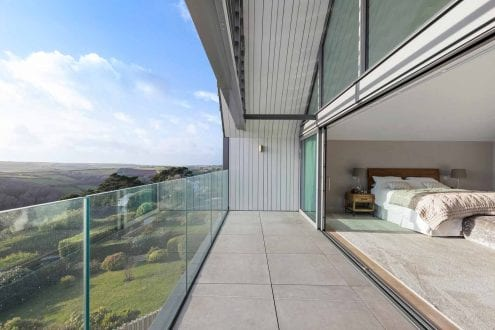 Sliding doors leading out onto the balcony