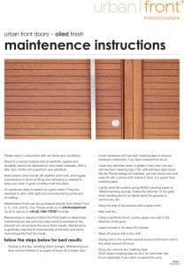 Urban Front - Maintenance Instructions - Oiled Finish