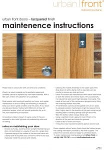Urban Front - Maintenance Instructions - Lacquered Finish