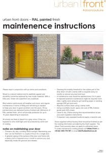 Urban Front - Maintenance Instructions - RAL Painted Finish